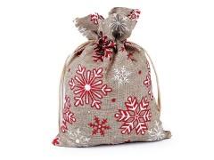 Ajándék karácsonyi / mikulás zsákocska pehellyel és glitterrel 13x18 cm juta imitáció Ajándék csomagolás