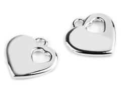 Medál szív - 5 db Medál-, bross
