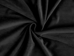 Bársony anyag strukturált - Fekete Plüss, bársony, frottir