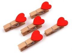 Csipesz szív csomag piros - 10 db
