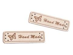 Műbőr Hand Made címke - 5 db Vasalható, varrható folt