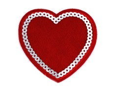 Felvasalható folt szív flitterekkel - 2 db Vasalható, varrható folt