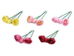 Mű tulipán virág - 3 db/csokor Virág, toll, növény