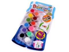 Festék textilre 12 szín Festék, ecset
