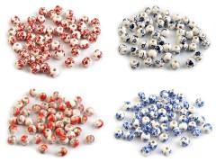 Porcelán gyöngyök virágokkal - 10 db/csomag Gyöngy-,gyöngyfűző