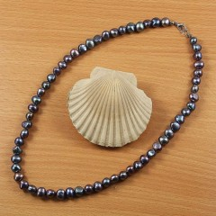 Barokk fekete  igazgyöngy nyaklánc - 47 cm Nyaklánc, -kellék