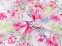 Pamut anyag - Virágos Pamut, gyapjú, krepp