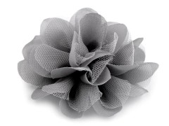 Szifon virág 80 mm - Szürke Medál-, bross